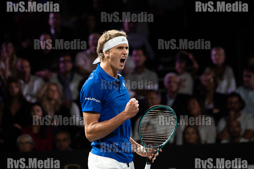 GENEVA, SWITZERLAND - SEPTEMBER 20: Alexander Zverev of Team Europe celebrates a point during Day 1 of the Laver Cup 2019 at Palexpo on September 20, 2019 in Geneva, Switzerland. The Laver Cup will see six players from the rest of the World competing against their counterparts from Europe. Team World is captained by John McEnroe and Team Europe is captained by Bjorn Borg. The tournament runs from September 20-22. (Photo by Robert Hradil/RvS.Media)