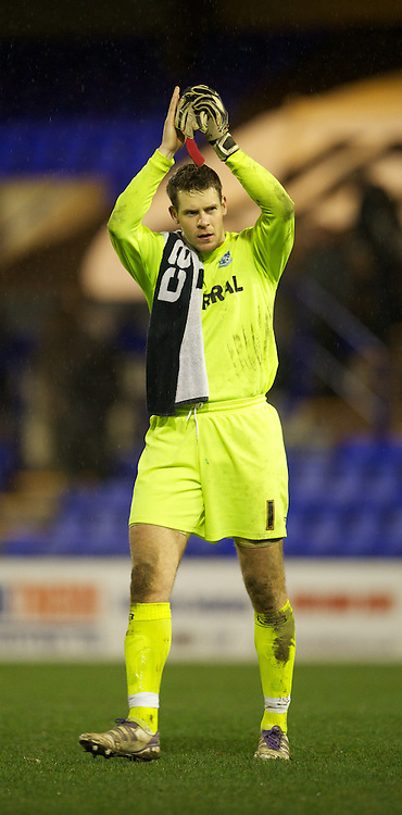 BIRKENHEAD, ENGLAND - Tuesday, March 6, 2012: Tranmere Rovers' goalkeeper Owain Fon Williams applauds the supporters after his side's 1-1 draw against Notts County during the Football League One match at Prenton Park. (Pic by David Rawcliffe/Propaganda)