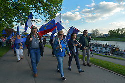 May 1, 2019 - Krakow, Poland - Members of the Committee for the Defence of Democracy (Polish: KOD) and member of the Polish opposition parties during the 'European Walk' on the occasion of Poland's 15th anniversary of accession to the European Union..On Wednesday, May 1, 2019, in Krakow, Poland. (Credit Image: © Artur Widak/NurPhoto via ZUMA Press)