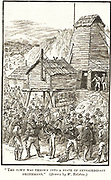 Striking it rich in a Nevada silver mine. 'The town was thrown into a state of extraordinary excitement.' Illustration by William Ralston for 'The Rich Time I Once Had' by Mark Twain. Engraving, 1883.