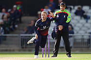 Lancashires Matthew Parkinson  during the Royal London 1 Day Cup match between Lancashire County Cricket Club and Derbyshire County Cricket Club at the Emirates, Old Trafford, Manchester, United Kingdom on 2 May 2019.