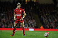 Leigh Halfpenny of Wales prepares to kick a penalty. Autumn International rugby, 2013 Dove men series, Wales v South Africa at the Millennium Stadium in Cardiff,  South Wales on Saturday 9th November 2013. pic by Andrew Orchard, Andrew Orchard sports photography,