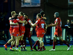 Leicester Tigers players celebrate at the final whistle<br /> <br /> Photographer Simon King/Replay Images<br /> <br /> European Rugby Challenge Cup Round 2 - Cardiff Blues v Leicester Tigers - Saturday 23rd November 2019 - Cardiff Arms Park - Cardiff<br /> <br /> World Copyright © Replay Images . All rights reserved. info@replayimages.co.uk - http://replayimages.co.uk