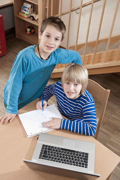 Two boys with homework