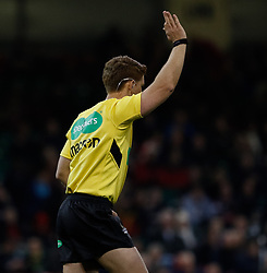 Referee Lloyd Linton awards Scarlets a penalty try<br /> <br /> Photographer Simon King/Replay Images<br /> <br /> Guinness PRO14 Round 21 - Dragons v Scarlets - Saturday 28th April 2018 - Principality Stadium - Cardiff<br /> <br /> World Copyright © Replay Images . All rights reserved. info@replayimages.co.uk - http://replayimages.co.uk