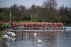 © Licensed to London News Pictures. 25/12/2016. London, UK. Swimmers line up to enter the water. Members of the Serpentine Swimming Club brave the cold waters at the Serpentine Lake in Hyde Park, London to compete for the traditional Peter Pan Cup on Christmas Day, December 25, 2016. Photo credit: Ben Cawthra/LNP