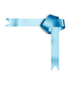 Pastel Blue streamer ribbon on white background