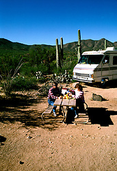 RV life: RV life at Saguaro National Monument, AZ  .Photo Copyright: Lee Foster, lee@fostertravel.com, www.fostertravel.com,  (510) 549-2202.Image rvlife202