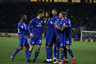 Armand Traore of Cardiff city (c) celebrates with his teammates after he scores his teams1st  goal. EFL Skybet championship match, Cardiff city v Bolton Wanderers at the Cardiff city Stadium in Cardiff, South Wales on Tuesday 13th February 2018.<br /> pic by Andrew Orchard, Andrew Orchard sports photography.
