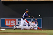 Pedro Florimon #25 of the Minnesota Twins turns a double play against the Boston Red Sox on May 17, 2013 at Target Field in Minneapolis, Minnesota.  The Red Sox defeated the Twins 3 to 2.  Photo: Ben Krause