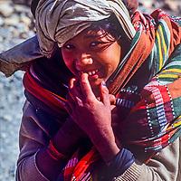A thakali woman on the trail in the Kali Gandaki Valley, Nepal
