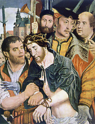 Ecce Homo', 1520.  Oil on Wood. Jan Sostaert (c1472-1555) Dutch Northern Renaissance painter. Christ humiliated, hands tied and wearing a crown of thorns, surrounded by his tormentors. Religion Christian
