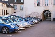 porsche cars in the parking lot of hotel le cep beaune cote de beaune burgundy france