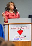Houston ISD board president Rhonda Skillern-Jones comments Volunteers in Public Schools recognition ceremony, May 14, 2015.