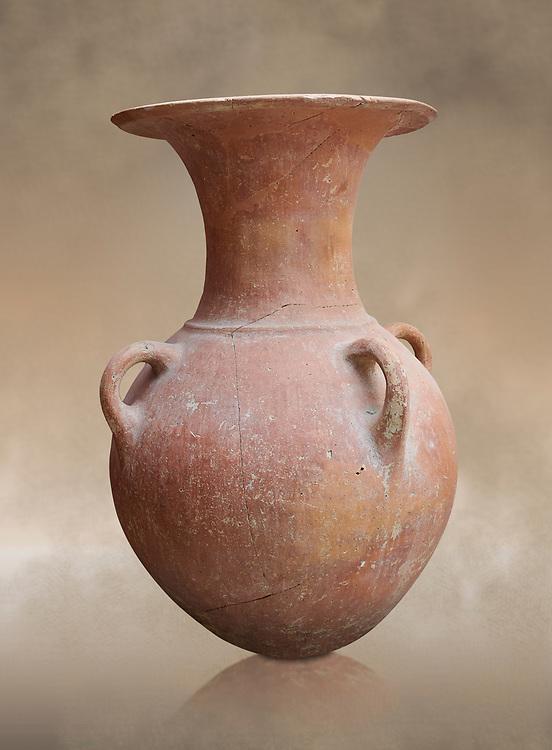 Hittite pottery vase from Hittite capital Hattusa, Hittite  Middle  Kingdom 1650-1450 BC, Bogazkale archaeological Museum, Turkey.