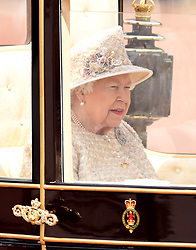 The Queen attending Trooping The Colour, Buckingham Palace, London. Picture credit should read: Doug Peters/EMPICS