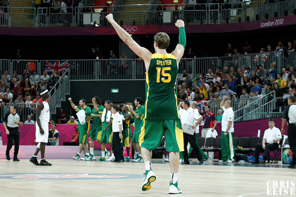 31 July 2012: Brazil Tiago Spliter celebrates during 67-62 Team Brazil victory over Team Great Britain, during the men's basketball preliminary, at the Basketball Arena, in London, Great Britain.