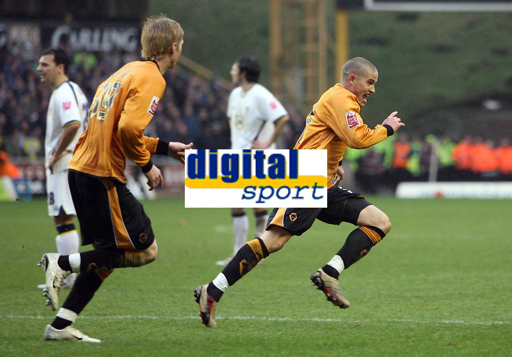 Photo: Rich Eaton.<br /> <br /> Wolverhampton Wanderers v Leeds United. Coca Cola Championship. 24/02/2007. Michael Kightly right celebrates scoring the only goal of the game for Wolves