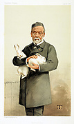 Louis Pasteur (1822-185) French chemist and founder of modern bacteriology, here holding rabbits used in his work on Hydrophobia (Rabies). Cartoon from 'Vanity Fair', January 1887.
