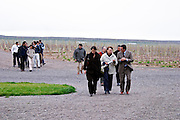 Visitors on tour in the windy vineyard Bodega NQN Winery, Vinedos de la Patagonia, Neuquen, Patagonia, Argentina, South America