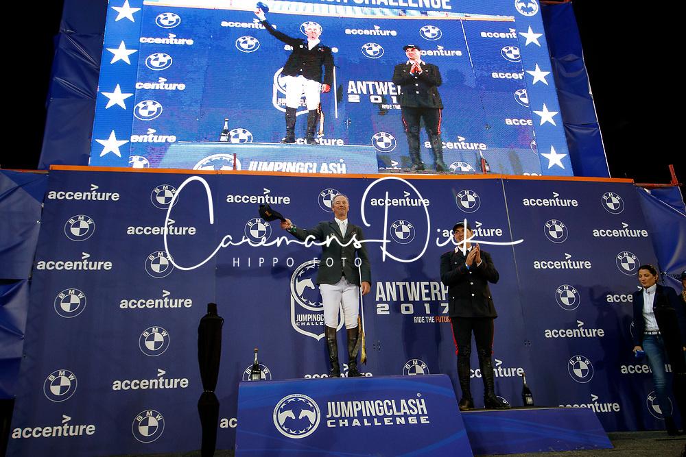 Delaveau Patrice, FRA, Emanuele Gaudiano, ITA<br /> Accenture Jumpingclash Challenge<br /> presented by BMW<br /> Jumping Antwerpen 2017<br /> © Hippo Foto - Dirk Caremans<br /> 21/04/2017