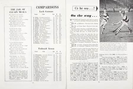All Ireland Senior Hurling Championship Final,.01.09.1968, 09.01.1968, 1st September 1968,.Senior  Tipperary v Wexford,  Wexford 5-08 Tipperary 3-12,.Minor Wexford v Cork,..Comparisons, .Loch Garman, .P Nolan, T Neville, E Kelly, E Colfer, V Staples, D Quigley, W Murphy, P Wilson, D Bernie, P Lynch, A Doran, C Jacob, J O'Brien, S Whelan, J Berry, P Nolan, E O'Connor, M Jacob, J Quigley, M Kinsella, .Tiobraid Arann, .J O'Donoghue, J Costigan, N O'Gorman, J Gleeson, M Burns, M Roche, L Gaynor, PJ Ryan, D Nealon, M Keating, J Ryan, J Doyle, J McKenna, S McLoughlin, L Devaney, M Stapleton, F Loughnane, S Shinners, P Roland, B Kenny,
