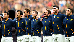 Argentina line up for the National Anthems - Mandatory by-line: Robbie Stephenson/JMP - 11/11/2017 - RUGBY - Twickenham Stadium - London, England - England v Argentina - Old Mutual Wealth Series