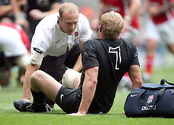 © Andrew Fosker / Seconds Left Images 2011 - England's Lewis Moody (Captain) gets treatment for an injury which ends his match    England v Wales  - Investec International - 06/08/2011 - Twickenham Stadium  - London - All rights reserved..