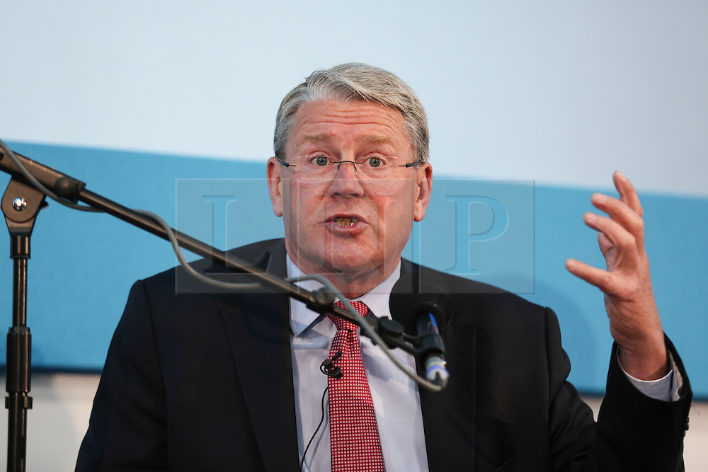 © Licensed to London News Pictures. 11/05/2016. Stoneleigh, UK. Sir Peter Kendall, former president of the National Farmers Union, at a debate about the upcoming EU referendum during the 2016 Pig and Poultry Fair at Stoneleigh, Warwickshire, UK. A recent survey carried out by Farmers Weekly magazine revealed that 58 percent of farmers are in favour whereas only 31 percent said they wanted to remain. The debate was put on by the BBC Radio Four's Farming Today programme and will be broadcast later this month. Photo credit : Ian Hinchliffe/LNP