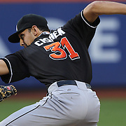 Pitcher Steve Cishek pitching for the Miami Marlins during the New York Mets V Miami Marlins, Major League Baseball game which went for 20 innings and lasted 6 hours and 25 minutes. The Marlins won the match 2-1. Citi Field, Queens, New York. 8th June 2013. Photo Tim Clayton