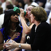 Marina Mabrey, Notre Dame, wsith coaches on the bench during the Notre Dame Vs UConn Women's Basketball game at Grampel Pavilion, Storrs, Connecticut, USA. 5th December 2015. Photo Tim Clayton