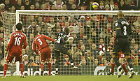 Photo: Aidan Ellis.<br /> Liverpool v Watford. The Barclays Premiership. 23/12/2006.<br /> Watford's Alhassan Bangura puts the ball over the bar when he should have scored into an empty net