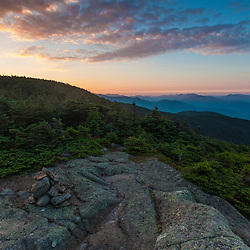 Dawn as seen from the summit of South Kinsman Mountain in New Hampshire's White Mountains. Appalachian Trail.