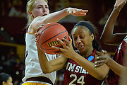 March 18, 2016; Tempe, Ariz;  New Mexico State Aggies forward Brianna Freeman (24) grabs a rebound during a game between No. 2 Arizona State Sun Devils and No. 15 New Mexico State Aggies in the first round of the 2016 NCAA Division I Women's Basketball Championship in Tempe, Ariz. The Sun Devils defeated the Aggies 74-52.
