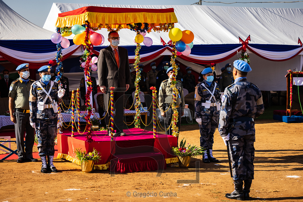 JUBA, SOUTH SUDAN- DECEMBER 23: Member of the Formed Police Unit 1 from Nepal serving with the United Nations Mission in South Sudan during a awarded UN medal ceremony in the UN House, Juba city, South Sudan, on 23 December 2020. Nepal is the world's fourth largest contributor of the uniformed personnel, currently with 5,700, to UN peacekeeping operations.<br /> Guang Cong (C), Deputy Special Representative of the UN Secretary-General. <br /> Photo by UN/Gregorio Cunha