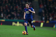 Daley Blind of Manchester Utd in action. Premier league match, Stoke City v Manchester Utd at the Bet365 Stadium in Stoke on Trent, Staffs on Saturday 21st January 2017.<br /> pic by Andrew Orchard, Andrew Orchard sports photography.