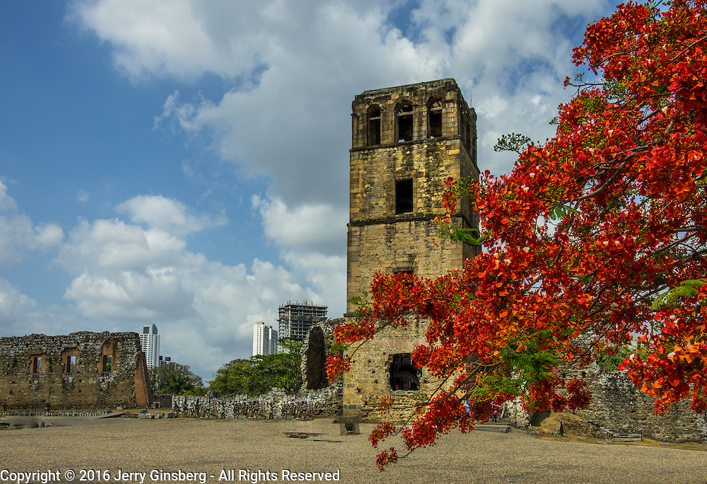 Central America, Panama, Panama City, Old Panama City, UNESCO, <br /> The ancient Cathedral Tower of Our Lady of Ascension still rises above the ruins of 16th century Panama City, destroyed by English Captain Henry Morgan.
