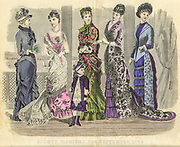 Colour drawing of Godey's women's Fashion for September 1880 from Godey's Lady's Book and Magazine, 1880 Philadelphia, Louis A. Godey, Sarah Josepha Hale,