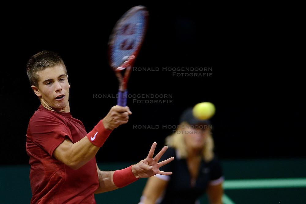 12-09-2014 NED: Davis Cup Nederland - Kroatie, Amsterdam<br /> Borna Coric verliest met 3-0