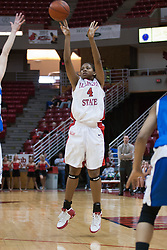 26 February 2006:  Brea Banks pops one for 3 points.....Illinois State Redbirds out muscled the Creighton Bluejays on Senior day by a score of 75-61.  Senior Holly Hallstorm grabbed her 10th double double with 20 points and 12 rebounds.  Competition took place at Redbird Arena on Illinois State University campus in Normal Illinois.