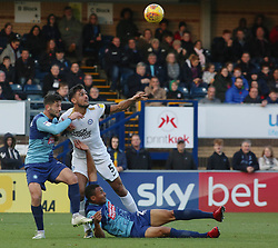 Ryan Tafazolli of Peterborough United battles for the ball with Joe Jacobson and Darius Charles of Wycombe Wanderers - Mandatory by-line: Joe Dent/JMP - 03/11/2018 - FOOTBALL - Adam's Park - High Wycombe, England - Wycombe Wanderers v Peterborough United - Sky Bet League One