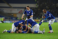 Football - Carling Cup Round Three - Cardiff vs. Leicester<br /> The Cardiff players celebrate as Paul Quinn scores the winning penalty to take them through to the next round at the Cardiff City Stadium
