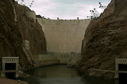 Hoover Dam on border of Arizona, AZ, Nevada, NV, flood control, drinking water source, Colorado River, image nv410-18620.Photo copyright: Lee Foster, www.fostertravel.com, lee@fostertravel.com, 510-549-2202