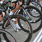 Women 1/2/3 racers at starting line, UA Criterium 2012, Tucson, Arizona. Bike-tography by Martha Retallick.