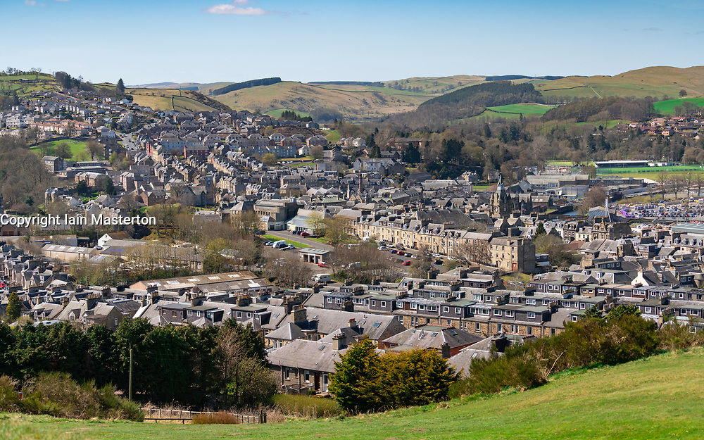 View over town of Hawick in Scottish Borders, Scotland, UK