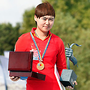 CHENG Ming (CHN) competes in Archery World Cup Final in Istanbul, Turkey, Sunday, September 25, 2011. (AP Photo/TURKPIX)