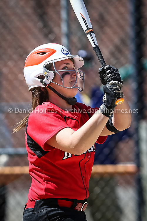 (4/21/16, HUDSON, MA) Hudson's Haley Gafney sends one to the outfield during the championship game of the Cheryl Jones Tournament against Nashoba at Hudson High School on Thursday. Daily News and Wicked Local Photo/Dan Holmes
