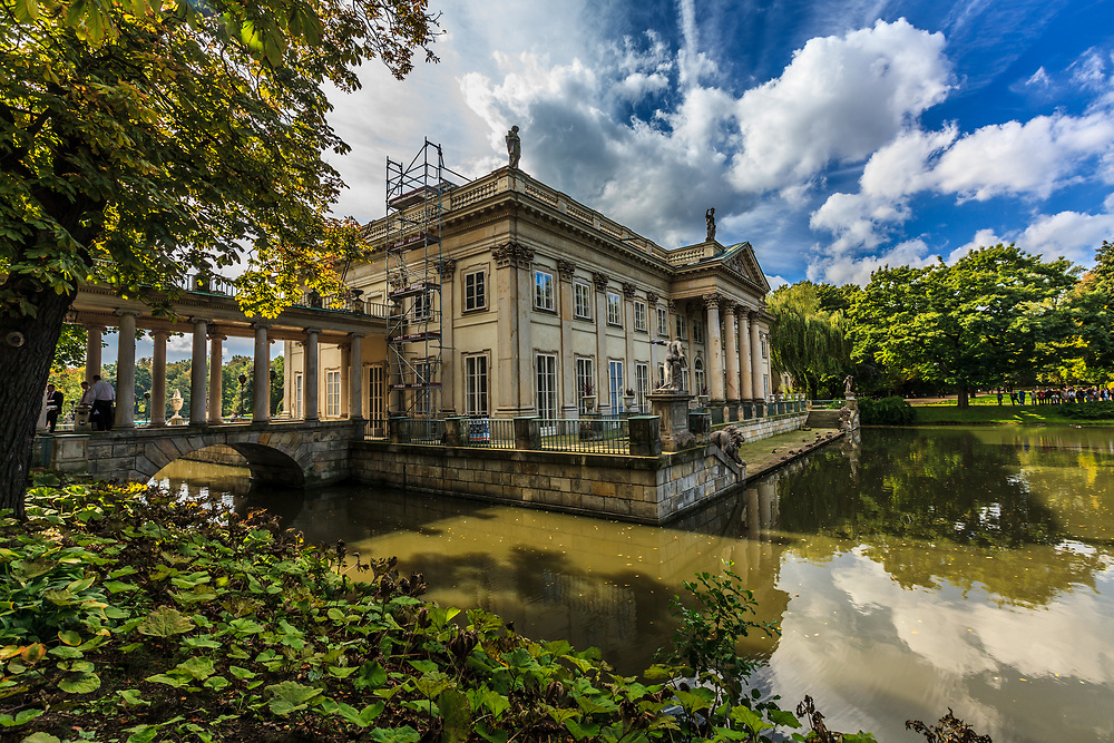 Palace on the Water, or Water Palace in Warsaw, Poland. Formerly a bathhouse for powerful aristocrat Stanislas Lubormirski, it was entirely remodeled by Poland's Last King, Stanislas August Poniatowski (r.1764-95) to be his Summer Residence.