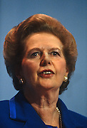 Margaret Thatcher gives her last speech as Prime Minister at the Tory conference, Blackpool before being deposed weeks later. .