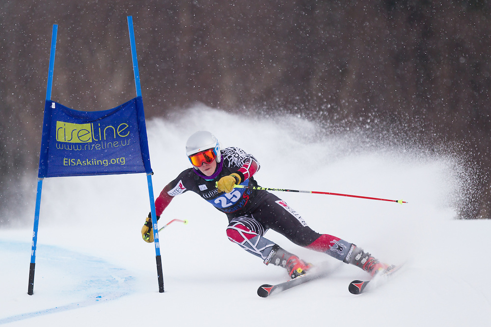 Kelsey Chenoweth, of Bates College, skis during the first run of the women's giant slalom of the University of Vermont Carnival on January 10, 2014 in Stowe, VT. (Dustin Satloff/EISA)
